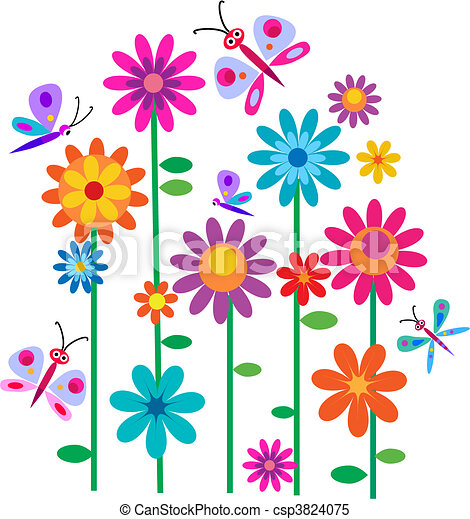 fleurs, printemps, papillons - csp3824075