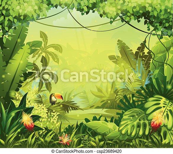 fleurs, toucan, jungle, llustration - csp23689420