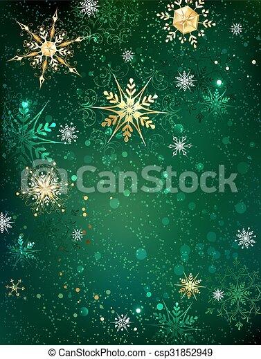 flocons neige, or, fond, vert - csp31852949