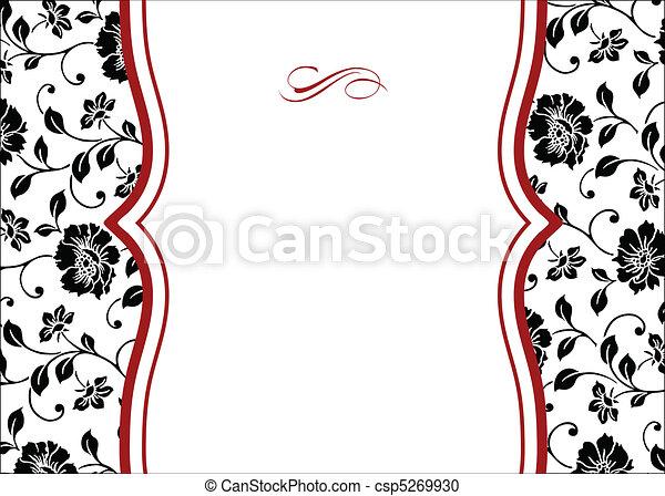 floral, cadre, vecteur, rouges - csp5269930