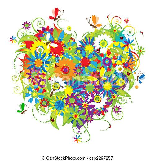 floral, coeur, amour, forme - csp2297257
