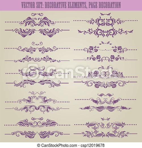 floral, décoratif, vecteur, set:, éléments - csp12019678