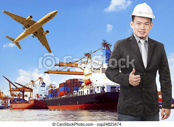 fonctionnement, commercial, bateau, avion, port, homme, cargaison, flyi, air - csp24823474