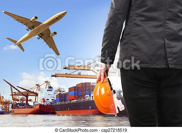 fonctionnement, commercial, bateau, avion, port, homme, cargaison, flyi, air - csp27218519