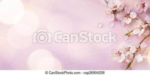 fond, art, frontière, fleur, printemps, rose - csp26904258
