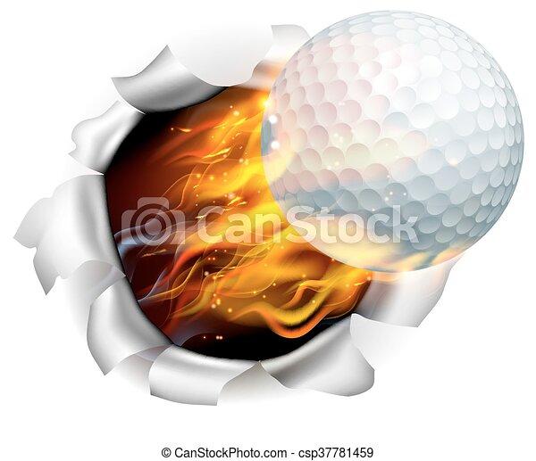 fond, balle golf, déchirure, trou, flamboyant - csp37781459