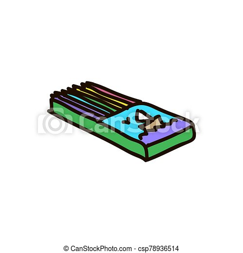 fond blanc, boîte bois, crayons - csp78936514
