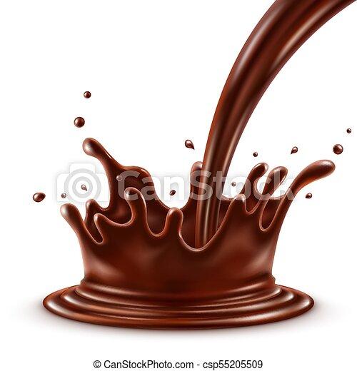 fond, isolé, chocolat, chaud, éclaboussure, verser, blanc - csp55205509
