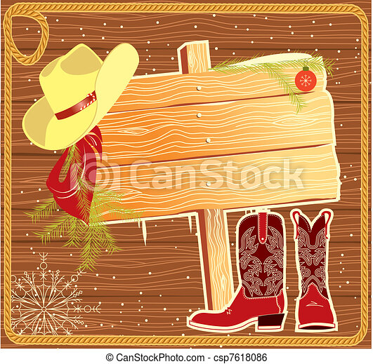 fond, noël, panneau affichage, vecteur, cow-boy, cadre, hat. - csp7618086
