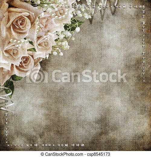 fond, roses, mariage, romantique, vendange - csp8545173