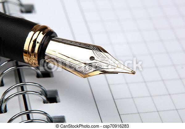 fontaine, bloc-notes, stylo, papier, cage - csp70916283