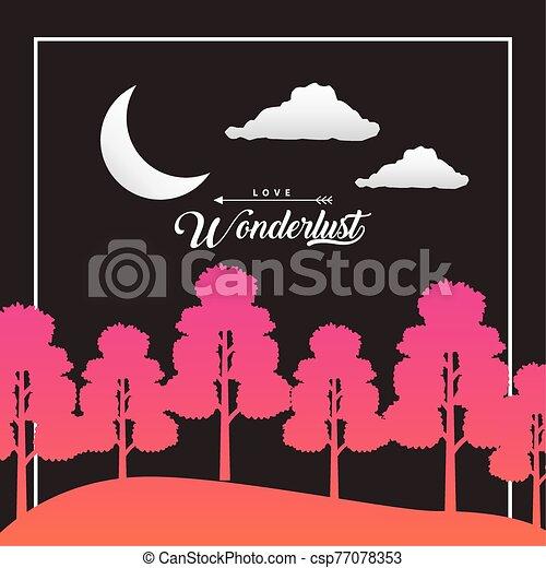forêt, croissant, wandelust, lune, scène, paysage - csp77078353