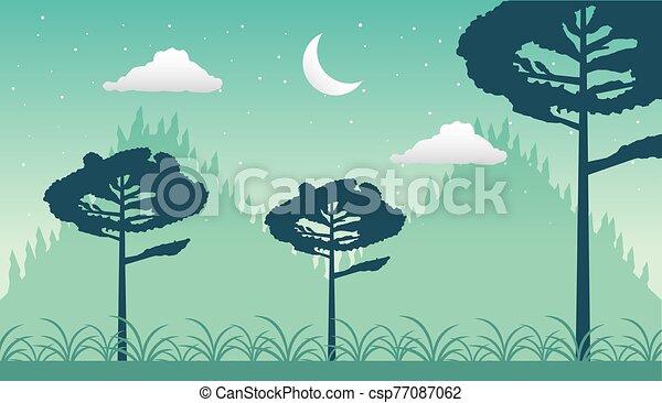 forêt, croissant, wandelust, lune, scène, paysage - csp77087062