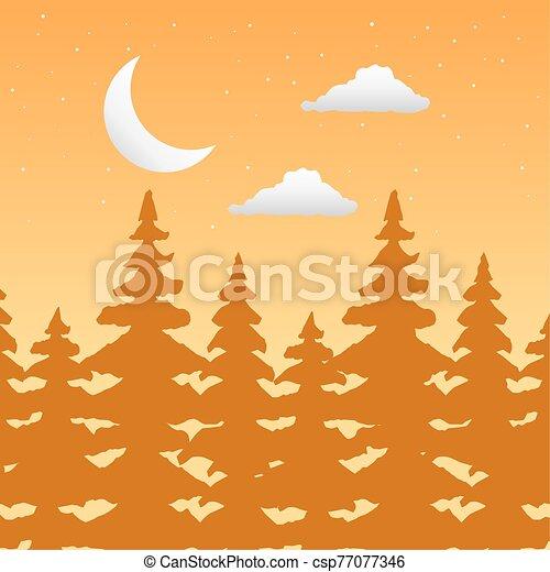forêt, croissant, wandelust, lune, scène, paysage - csp77077346