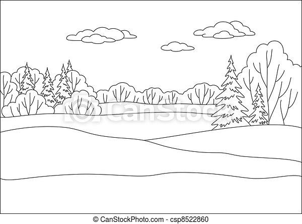 forêt, paysage, hiver, contours - csp8522860
