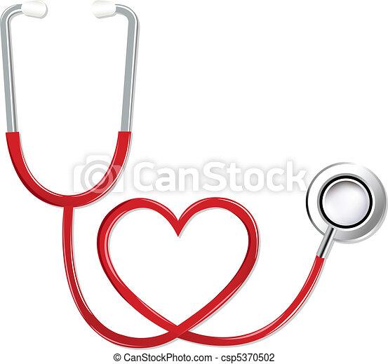 forme coeur, stéthoscope - csp5370502