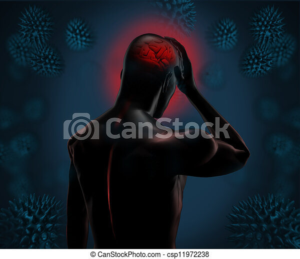 fort, figure, numérique, avoir, mal tête - csp11972238