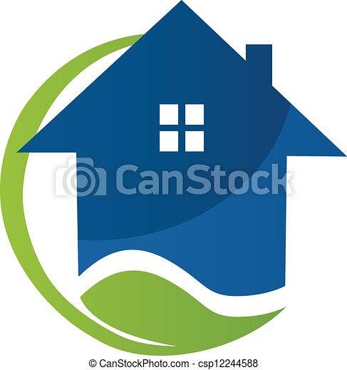 foyer bleu, vecteur, feuille, logo - csp12244588