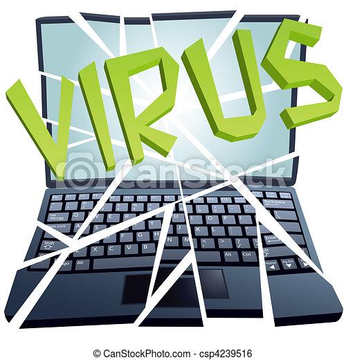 fracas, casse, morceaux, virus, sécurité informatique, ordinateur portable - csp4239516