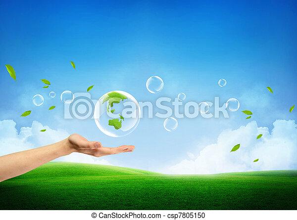 frais, concept, terre verte, nouveau - csp7805150