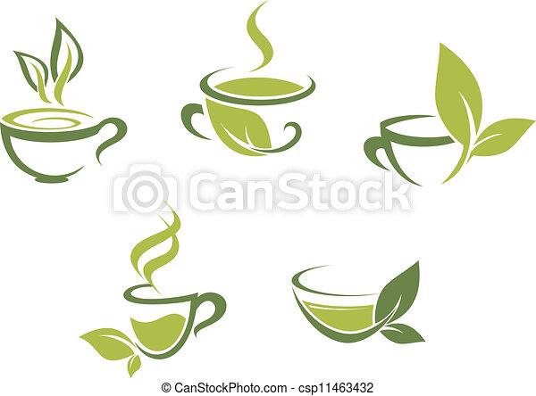 frais, feuilles, thé vert - csp11463432