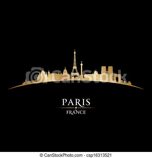 france, paris, arrière-plan noir, horizon, ville, silhouette - csp16313521