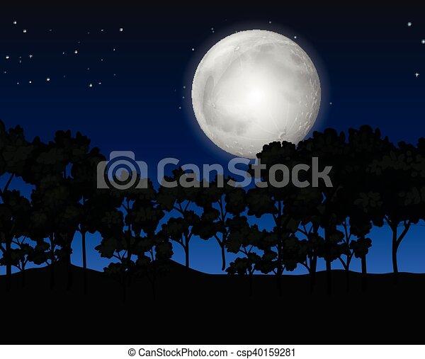 fullmoon, scène, nuit - csp40159281