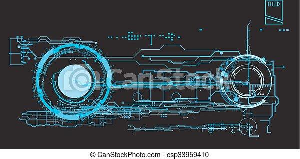 futuriste, toucher, interface, virtuel, graphique, utilisateur, concept, hud - csp33959410