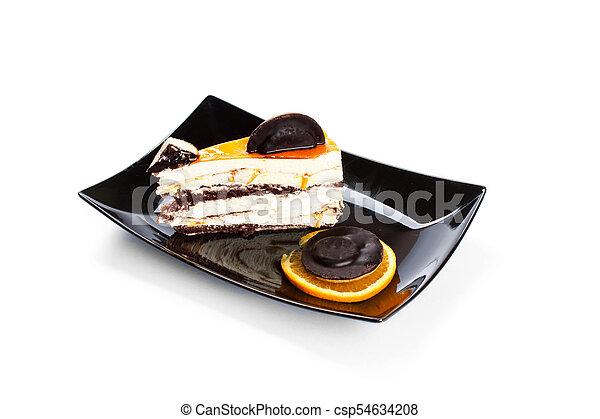 gâteau, doux, blanc, isolé, fond - csp54634208