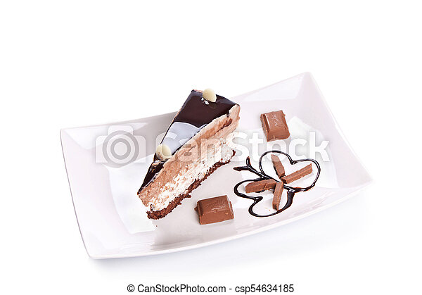 gâteau, doux, blanc, isolé, fond - csp54634185