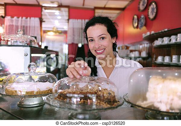 gâteaux, elle, business, projection, propriétaire, savoureux, petit, magasin - csp3126520