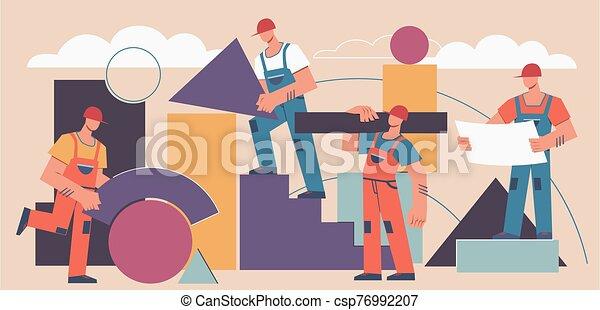 géométrique, fond, industriel, professionnel, projet, shapes., construction, bâtiment, constructeurs, vecteur, résumé, travail, concept. - csp76992207