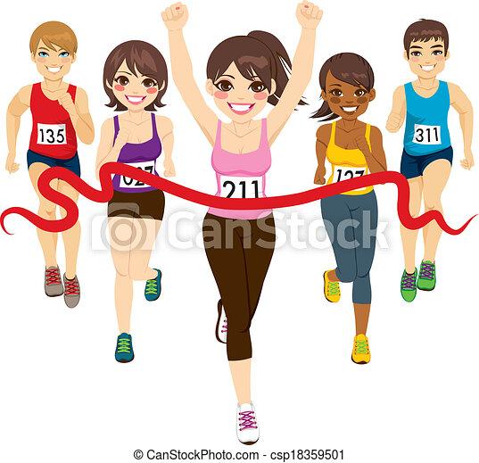 gagnant, femme, marathon - csp18359501
