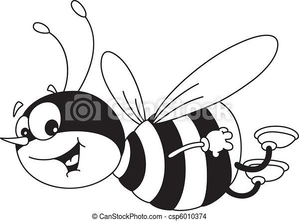 gai, esquissé, abeille - csp6010374