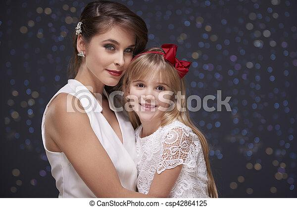 gai, portrait, noël, temps famille - csp42864125