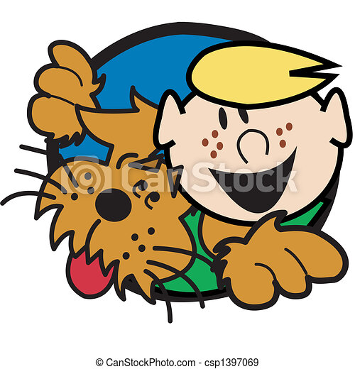 garçon, art graphique, chien, agrafe - csp1397069