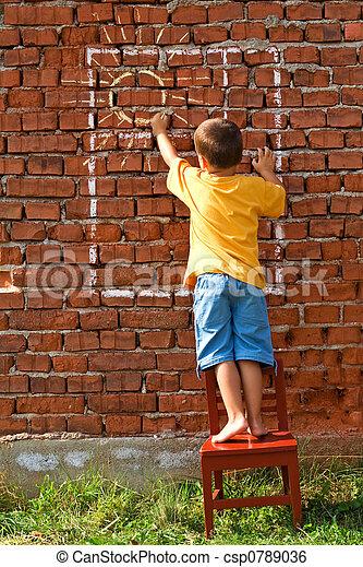 garçon, fenêtre, dessin, soleil - csp0789036