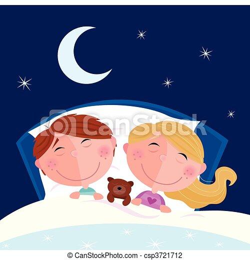 garçon, girl, -, frères soeurs, dormir - csp3721712