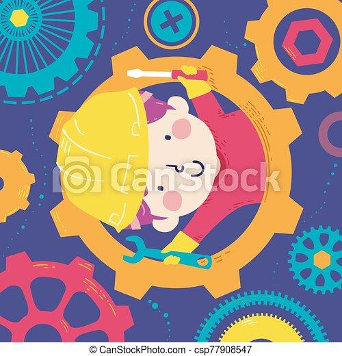 garçon, gosse, outils, illustration, engrenages - csp77908547