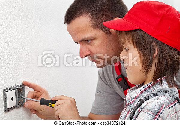 garçon, mur, fixer, rencontre, comment, électrique, apprentissage - csp34872124