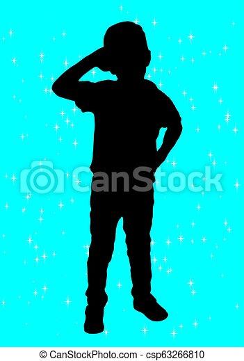 garçon, silhouette - csp63266810