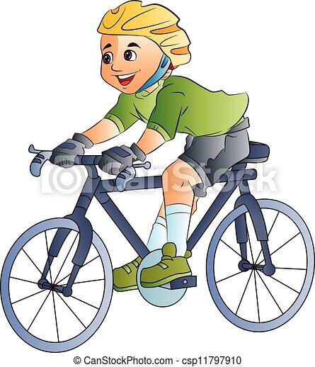 garçon, vélo, illustration, équitation - csp11797910