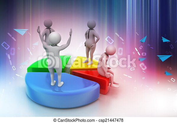 gens, 3d, diagramme, tarte, business, concurrence - csp21447478