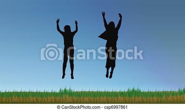 gens, confection, grand, saut, bleu ciel - csp6997861