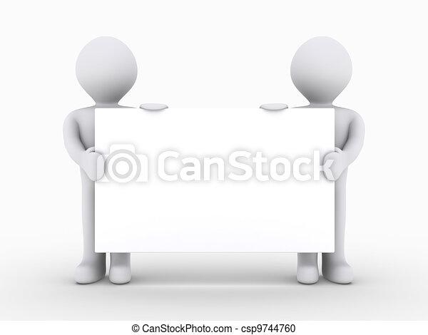 gens, deux, signe, bas, tenue, vide - csp9744760