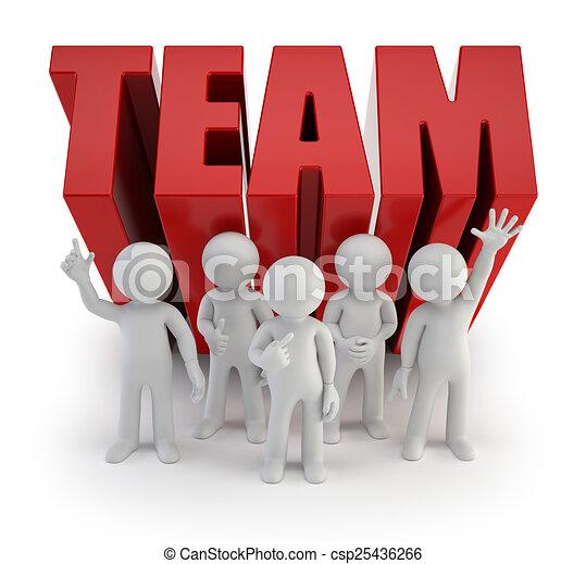gens, fiable, -, équipe, petit, 3d - csp25436266