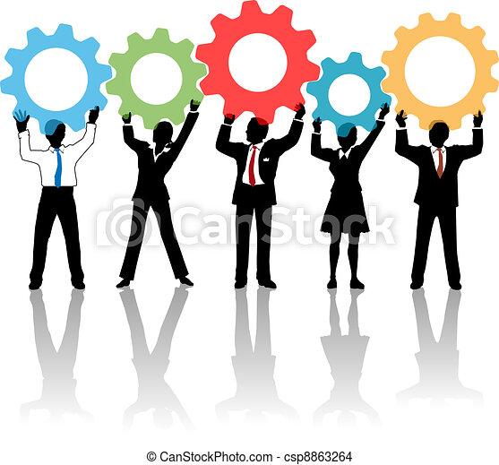 gens, haut, engrenages, équipe, solution, technologie - csp8863264