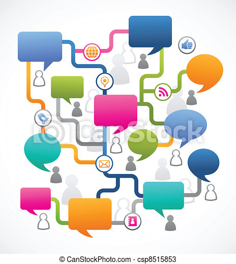 gens, média, image, parole, social, bulles - csp8515853