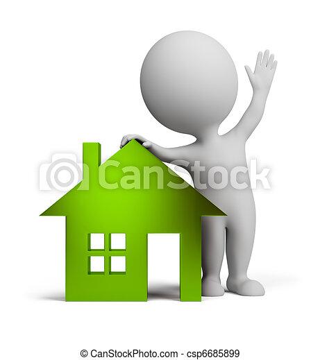 gens, maison, -, verre, petit, 3d - csp6685899