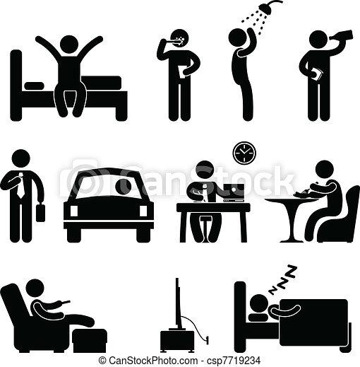 gens, quotidiennement, signe, routine, icône, homme - csp7719234
